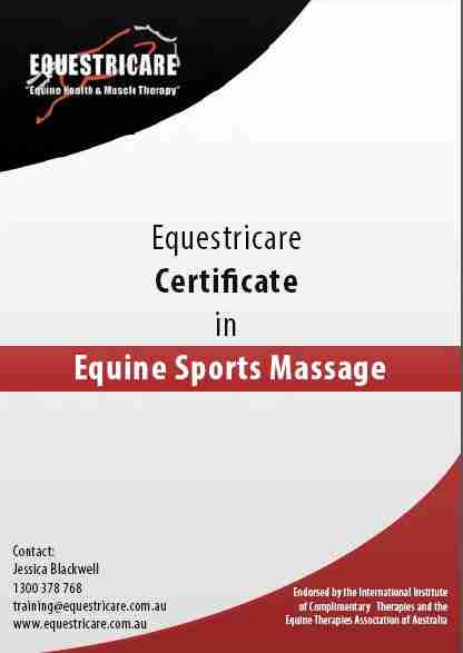 Certificate in Equine Sports Massage – Equestricare